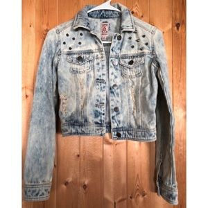 Decree studded acid wash denim jacket